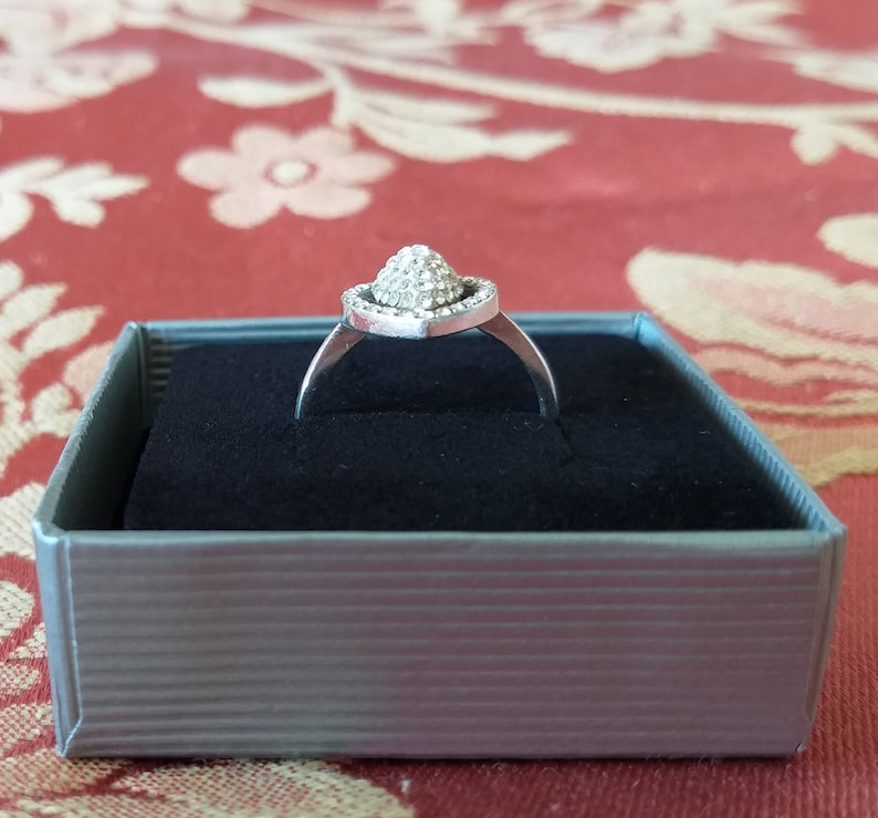 Silver and French Paste Ring French Art Deco Design Vintage Ring Box. Engagement Ring  Cocktail ring Vintage French Jewellery