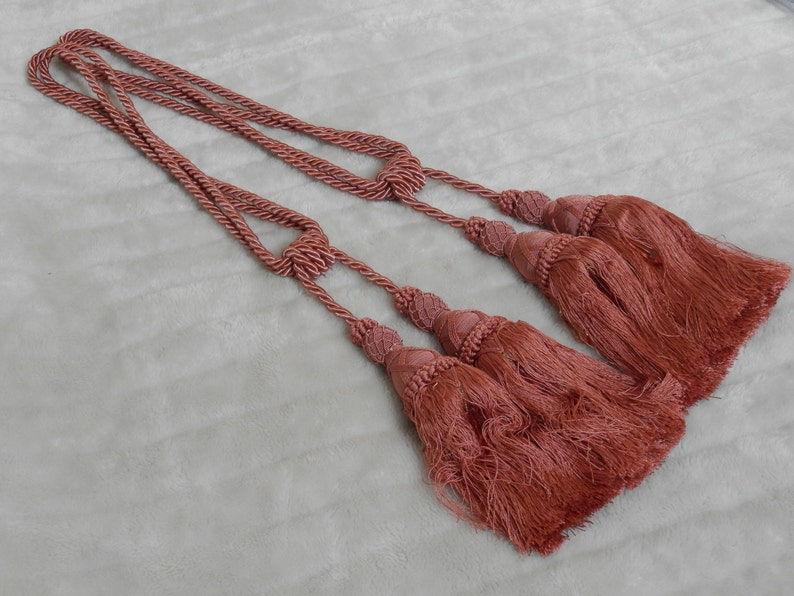 Pair of Large Double Tiebacks Pink Chateau Decor Luxury French Vintage Curtain Tiebacks French Decor Big Double Bobbles /& Tassels