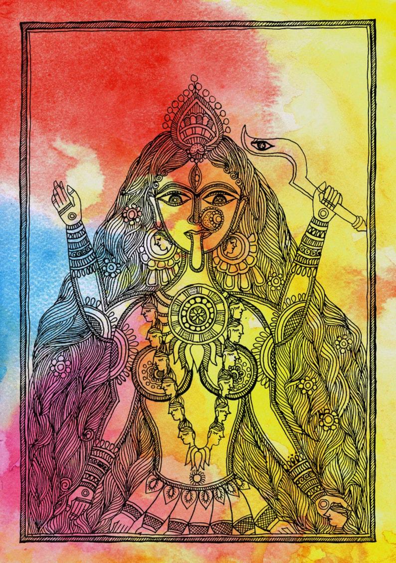 sacred art-famous religious art-contemporary art-spiritual art-goddess  art-mythological paintings-kali art-goddess paintings-indian goddes