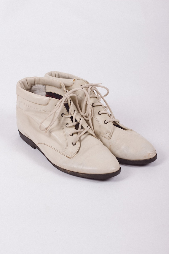 Vintage Booties, Vintage 80's Booties, White Booti