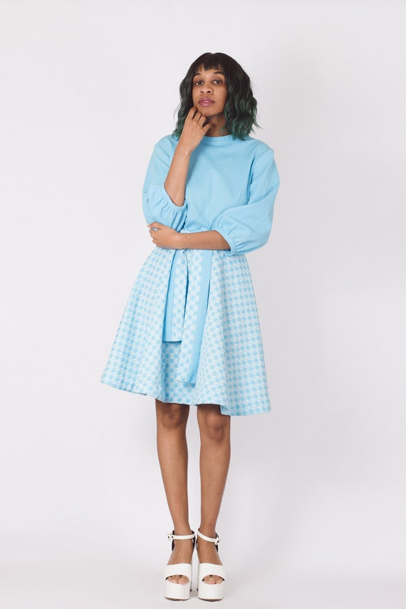 Vintage 70's Pastel Blue Gingham Checker Dress - image 2