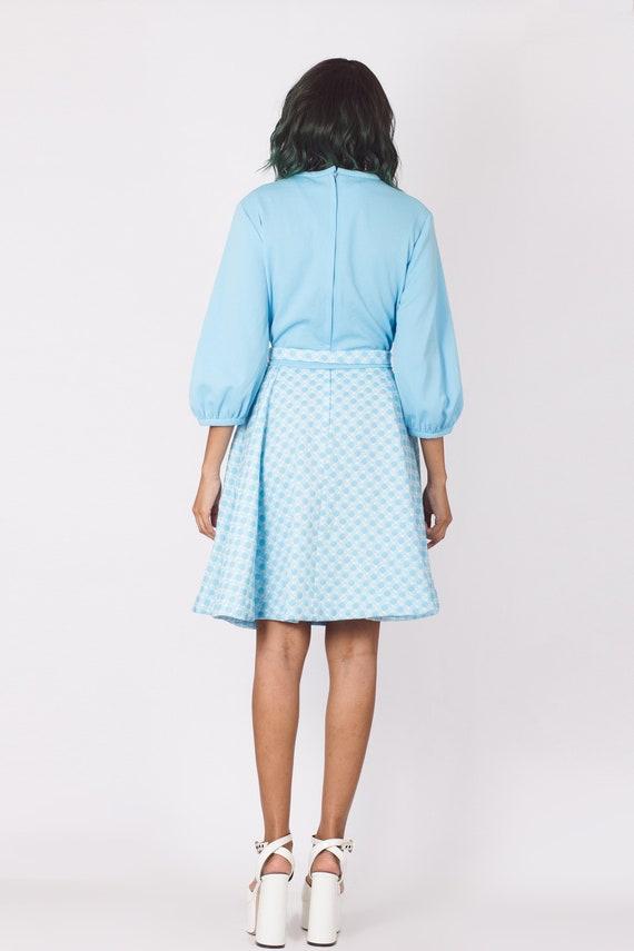 Vintage 70's Pastel Blue Gingham Checker Dress - image 6