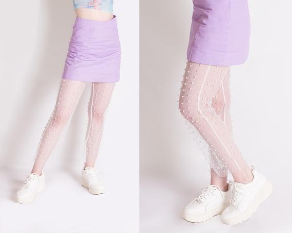 Mesh Leggings, Pearl Leggings, White Leggings, Tra