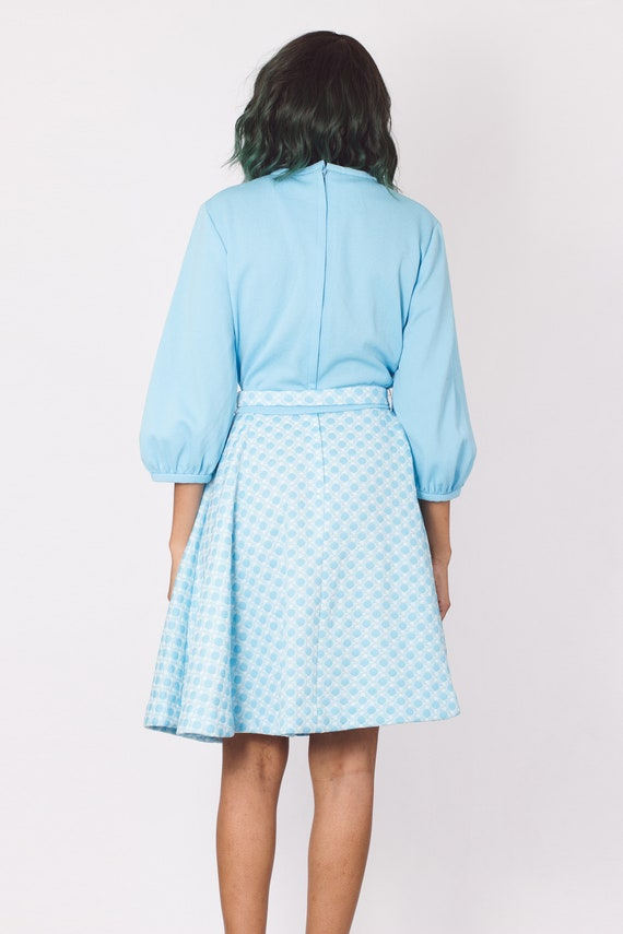 Vintage 70's Pastel Blue Gingham Checker Dress - image 7