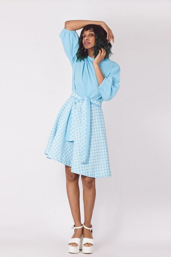 Vintage 70's Pastel Blue Gingham Checker Dress - image 3