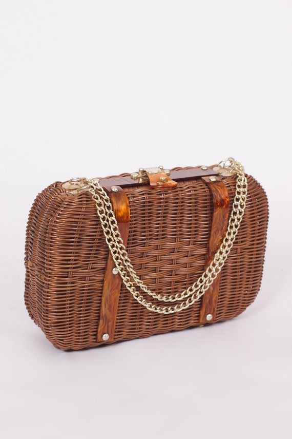 VINTAGE BASKET PURSE, 80s Basket Purse, Wicker Pur