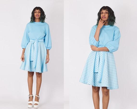 Vintage 70's Pastel Blue Gingham Checker Dress - image 1
