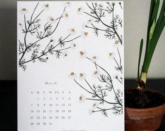 March Calendar 2021 Digital Download • watercolor clipart, handpainted illustration, printable planner, flower calendar, botanical art