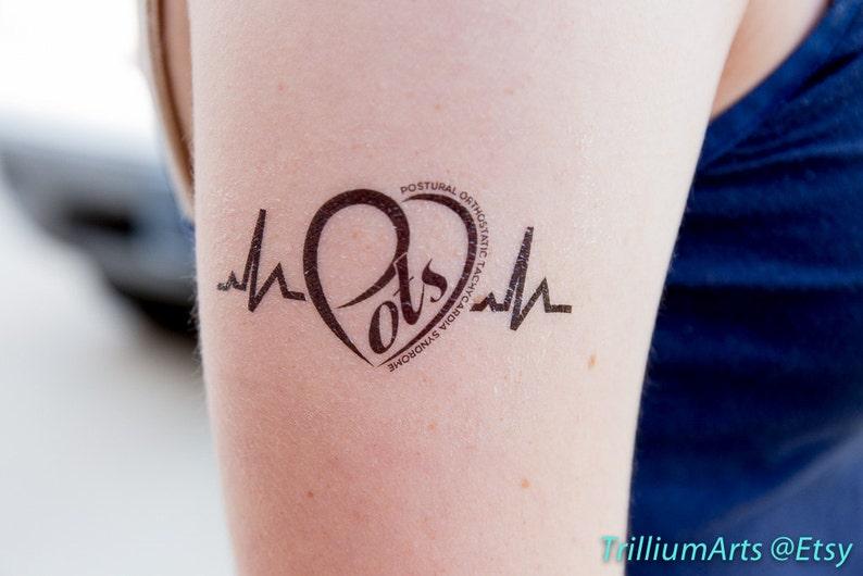 5 POTS Heart temporary tattoos in black (1.5\