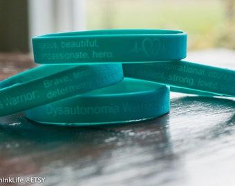 4 Turquoise Dysautonomia Warrior Wristbands with POTS logo