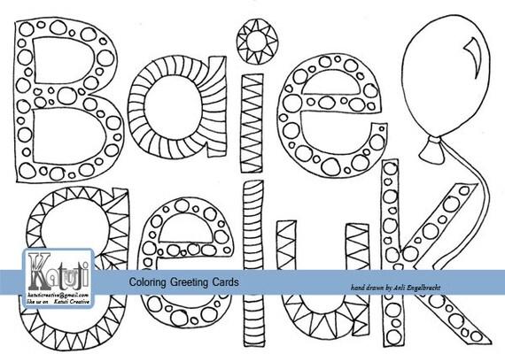 Coloring greeting card Baie Geluk Afrikaans Happy Birthday | Etsy