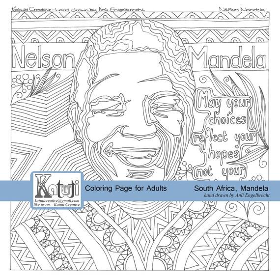 Instantánea para colorear descarga Sudáfrica Nelson Mandela | Etsy