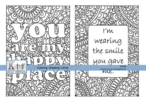 Coloring greeting card love valentine happy place | Etsy