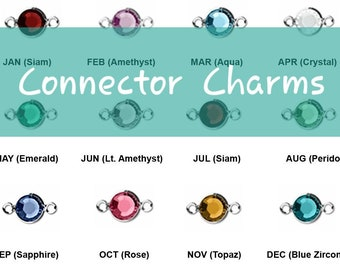 *Wide Edge* Birthstone Connectors *ALL Colors* Boho Style* Tiny Gemstone Link Charms 14 x 20 mm DIY Jewelry Square Gemstone Connectors