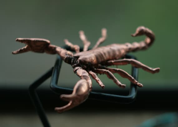 Collectible Chinese Hand-Carved Red Copper Insect Lifelike Scorpion statue