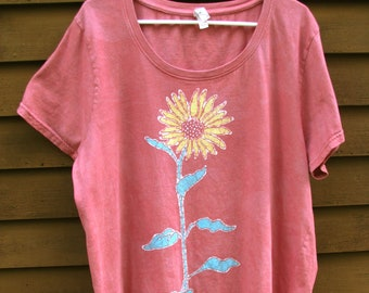 Hand-dyed, batik, cotton, 1X or 2X, plus size, women's, short sleeve, rose color, t-shirt with sunflower
