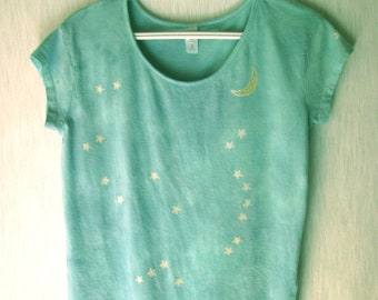 Hand-dyed, batik, 60% cotton, 40 modal, women's, short sleeve, blue and jade, shirt with Orion constellation, hand painted
