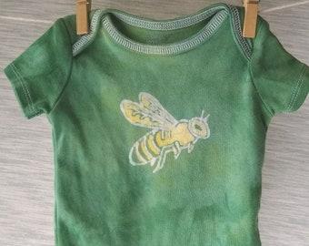 Hand-dyed batik, baby bodysuit, with honeybee