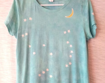 Hand-dyed, batik, organic cotton, bamboo, S, L (runs small), women's, short sleeve, blue and jade, t-shirt with Orion constellation, moon