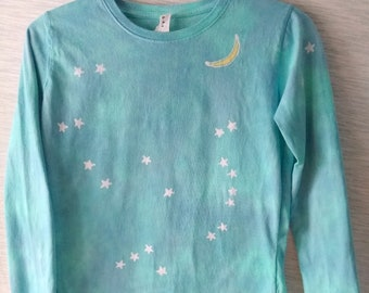 Hand-dyed batik long-sleeve t-shirt, Orion constellation and moon, 100% cotton, see measurements in 2nd photo