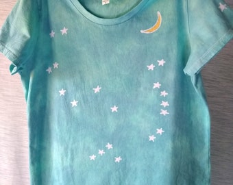 Hand-dyed batik, 100% organic cotton, made in US, t-shirt with Orion constellation and moon