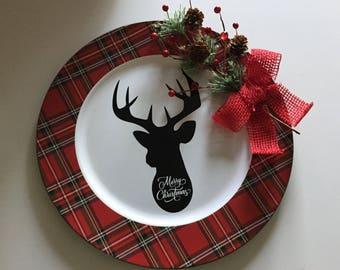 Christmas deer plaid charger plate