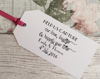 White Wedding Camera Tag, Help Us Capture Our Love, Wedding Favour Tags - Vintage, Shabby Chic, - Set of 10