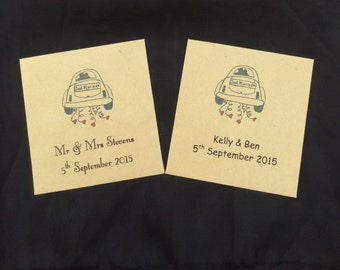 Personalised Wedding Favour Envelopes Kraft Handmade Seed Tea Bag Lotto Packets Let Love Grow   - Set of 10