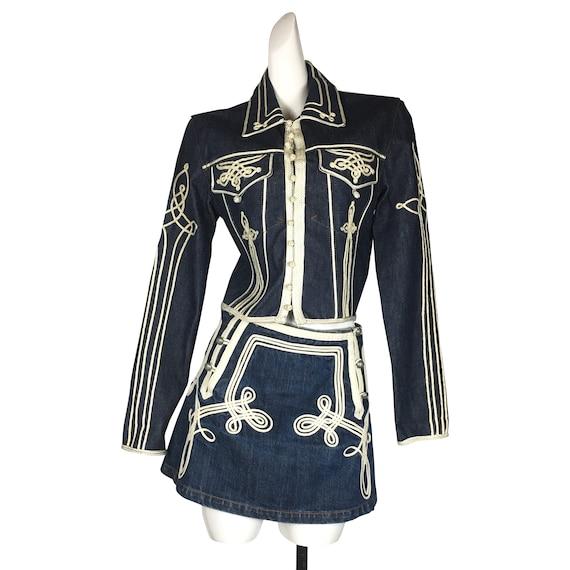 Jean Paul Gaultier denim jacket skirt set
