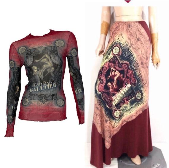 jean paul gaultier mesh top x skirt