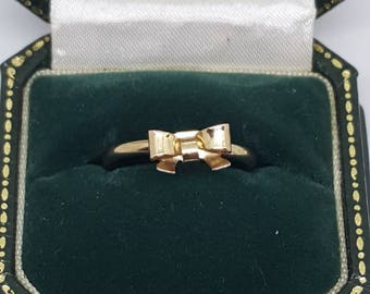 Fashion ladies ring bow ring gold tone bow ring gift for her birthday gift size 7.5