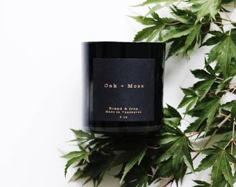 Oak + Moss scented candle | Black Candle | Soy candle | Candles, Gift Idea Home Decor