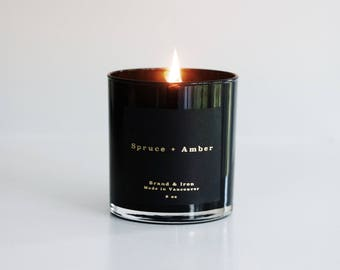 Spruce & Amber scented candle | Black Candle | Soy candle | Candles, Gift Idea Home Decor