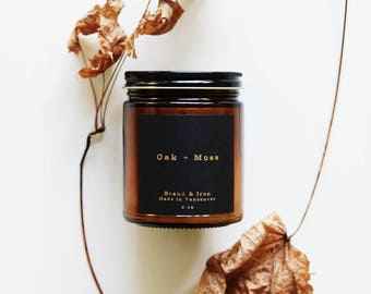 Oak & Moss - Amber Apothecary jar candle | soy candle | candle gift, home decor