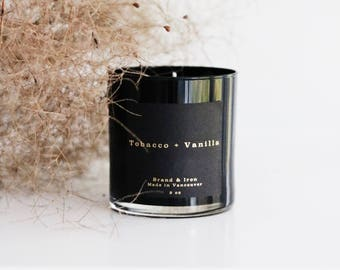 Tobacco + Vanilla scented candle | black  candle | Soy candle | Candles, Gift Idea Home Decor
