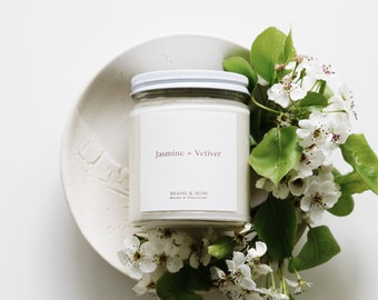 Jasmine + Vetiver scented candle | Soy candle | Candles, Gift Idea Home Decor