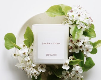 Jasmine & Vetiver Candle, Hand poured soy wax candle, clean burning candle, home decor, gift, vegan