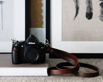 Cognac Brown Slim Camera Strap / Fixed Length / Vegetable Tanned Leather