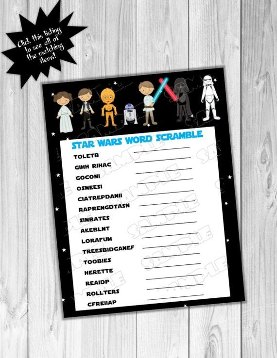 Star wars Baby shower games Starwars word scramble game Printable