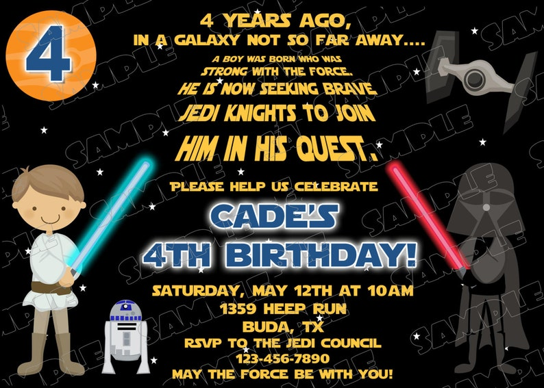 Star Wars Scroll Glow Birthday Party Printable Invitations