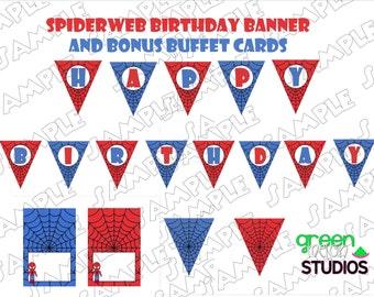 Spiderman Banner spiderweb Happy Birthday INSTANT DOWNLOAD with bonus buffet cards UPrint  by greenmelonstudios