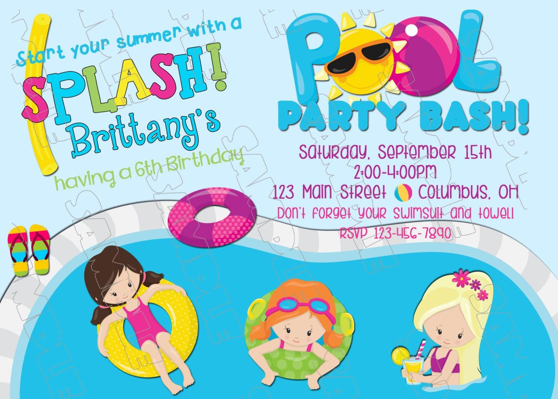 Piscina invitación nado partido natación cumpleaños partido | Etsy