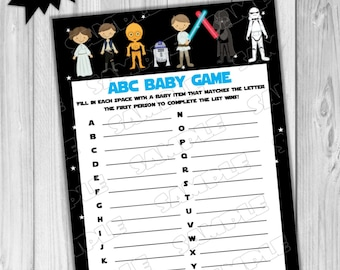 Captivating Starwars Baby Shower Games Star Wars Abc Baby Game Printable INSTANT  DOWNLOAD UPrint By Greenmelonstudios Starwars
