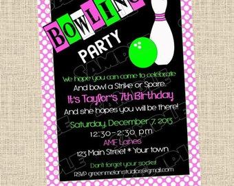 Bowling birthday party printable invitationpolka dots any colors UPrint customized card by greenmelonstudios