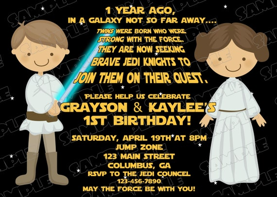 Star Wars Scroll Boy And Girl Birthday Party Printable