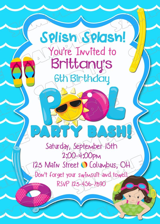 Pool Party Invitation Swim Swimming Birthday Printable Invitations Beach UPrint Customized Card By Greenmelonstudios