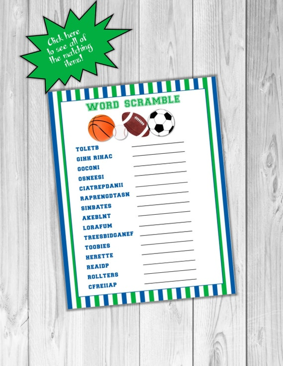 Sports Baby Shower Games Word Scramble With Answers Balls Etsy