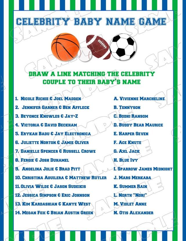Sports Baby Shower Games Celebrity Baby Name Game With Answers