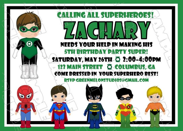 Green Lantern Inspired Superhero Birthday Party Printable Invitations UPrint Customized Card By Greenmelonstudios