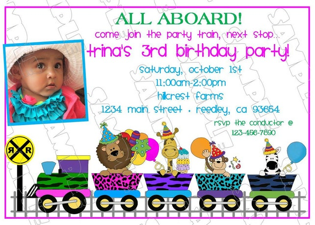 Train animal jungle train invitation birthday party printable invitations UPrint customized card by greenmelonstudios